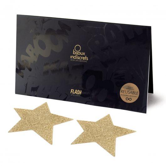 Украшение на соски Bijoux Indiscrets - Flash Star Gold (15646-29)