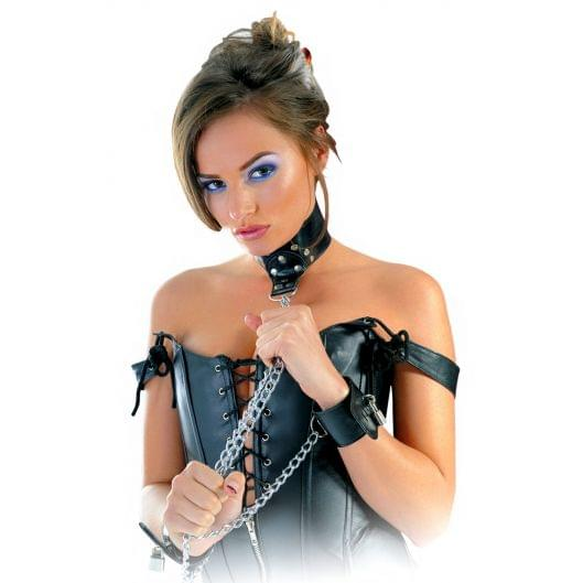 Pipedream Leather Collar and Cuffs ошейник с наручниками (11939-17)