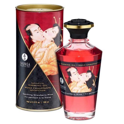 Разогревающее масло Shunga APHRODISIAC WARMING OIL - Sparkling Strawberry Wine (100 мл) (15847-29)