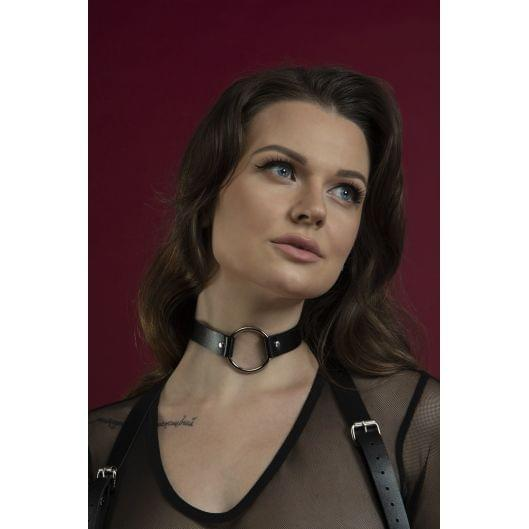 Чокер с кольцом Feral Feelings - O-Ring Collar черный, натуральная кожа (29652-29)
