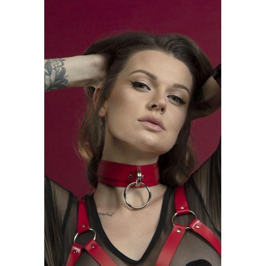 Чокер широкий с кольцом для поводка Feral Feelings - Collar красный, натуральная кожа (29659-29)