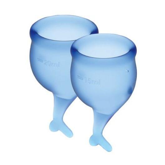 Набор менструальных чаш Satisfyer Feel Secure (dark blue), 15мл и 20мл, мешочек для хранения (29851-29)