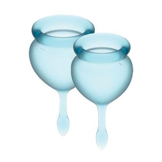 Набор менструальных чаш Satisfyer Feel Good (light blue), 15мл и 20мл, мешочек для хранения (29847-29)