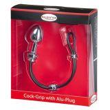 Эрекционное кольцо с пробкой - MALESATION Cock-Grip mit Alu-Plug klein (24457-37)