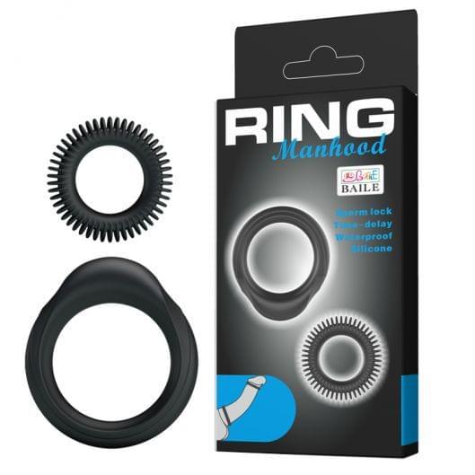 Эрекционные кольца - Ring Manhood Rings Black, 2 шт. (23258-37)