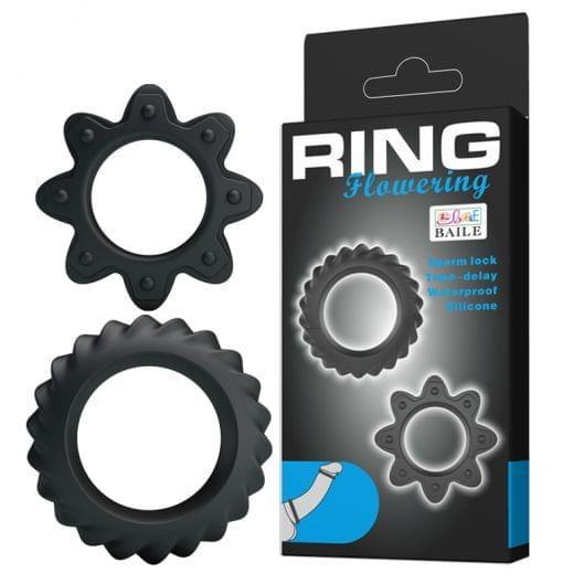 Эрекционные кольца - Ring Flowering Rings Black, 2 шт. (23259-37)