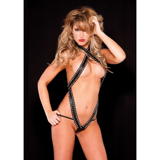 Секси белье Noir Faux Leather Teddy (10538-17)