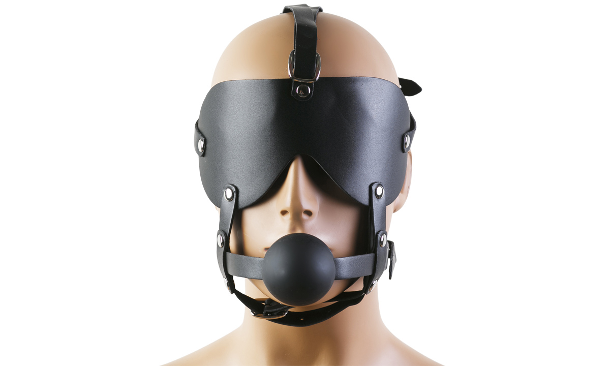 Кожаная маска на глаза с кляпом